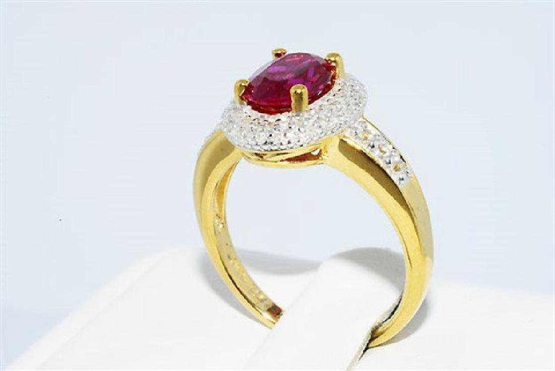 2.46ct Ruby Diamond White Topaz Cocktail Silver Ring - 5