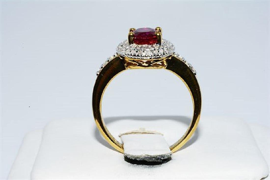 2.46ct Ruby Diamond White Topaz Cocktail Silver Ring - 7