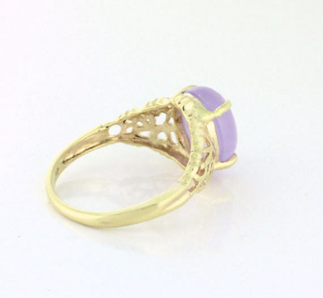 Vintage 10K Gold Lavender Jade Filigree Ring - 2