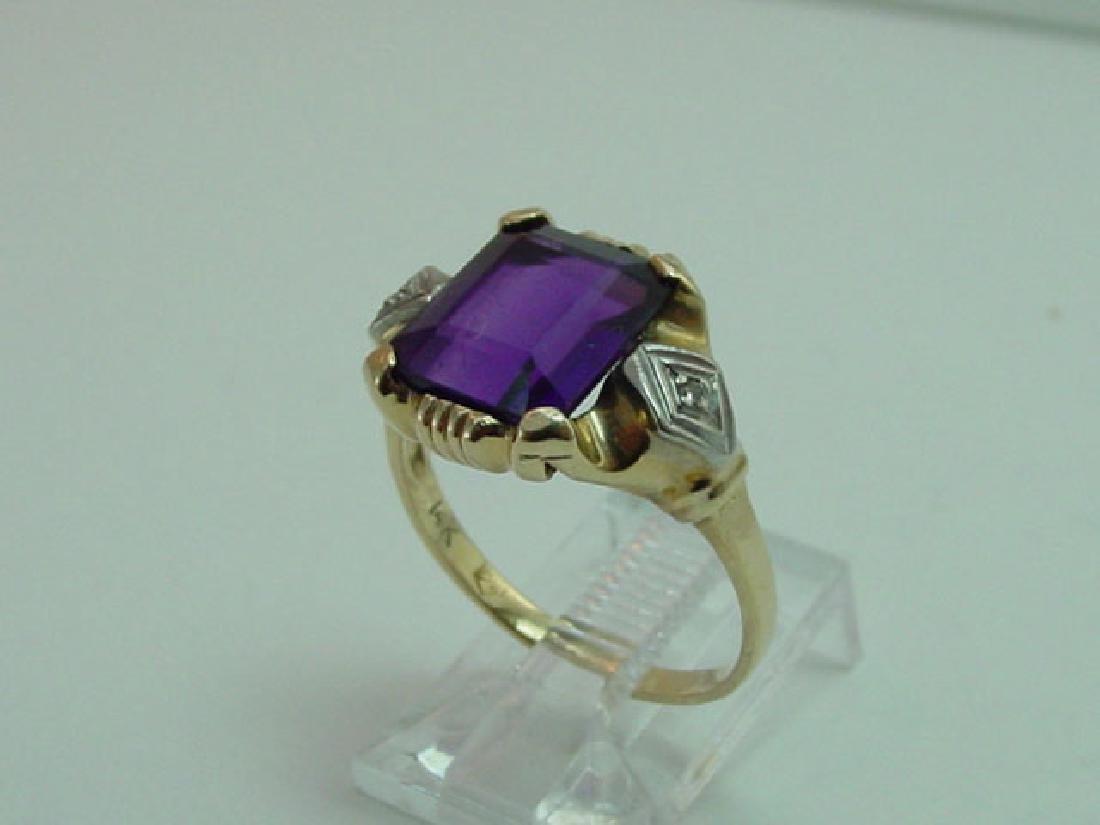 Vintage 14K Gold Amethyst & Diamond Ring