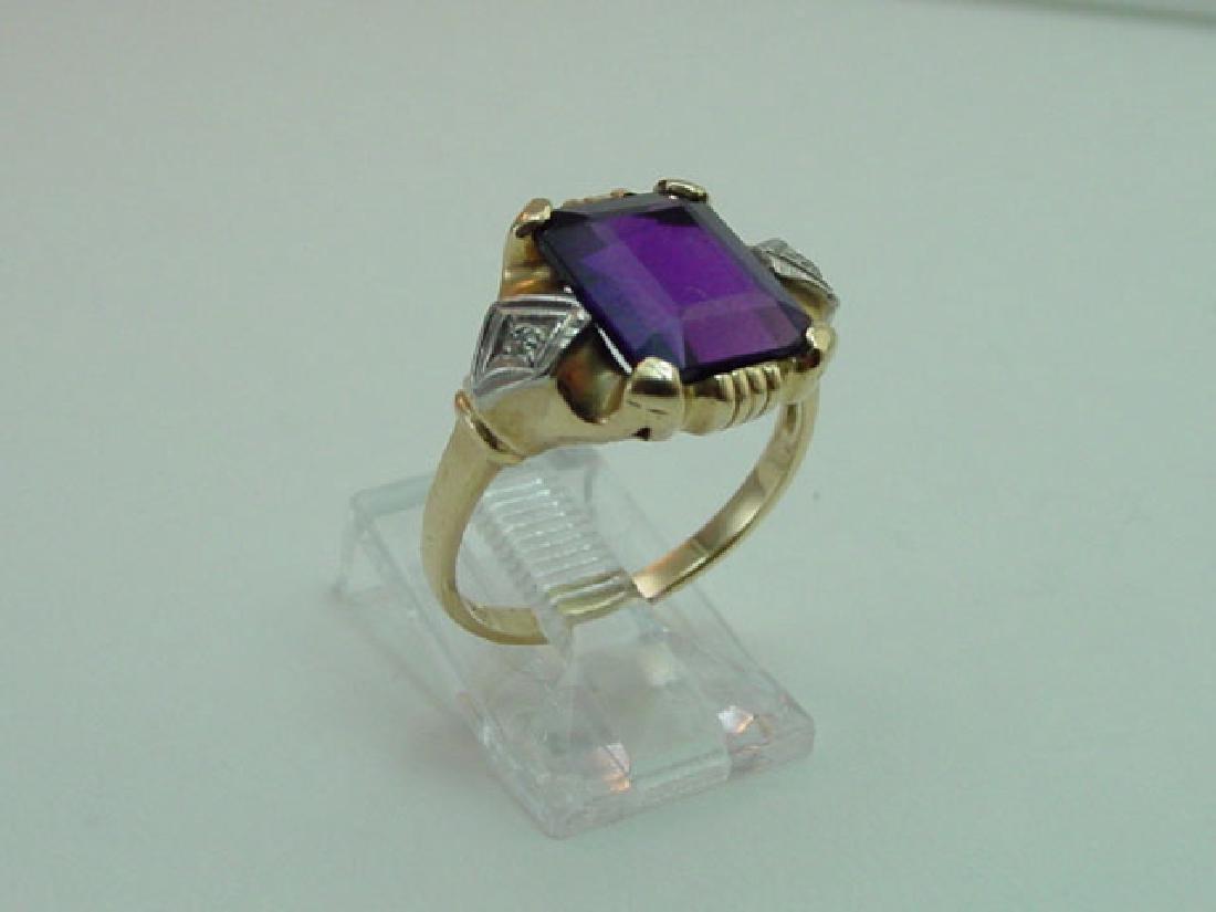 Vintage 14K Gold Amethyst & Diamond Ring - 2
