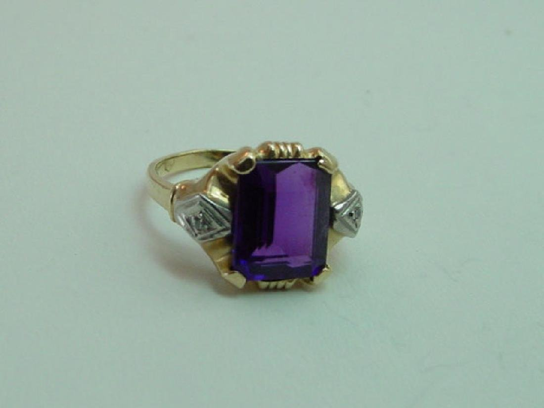 Vintage 14K Gold Amethyst & Diamond Ring - 3