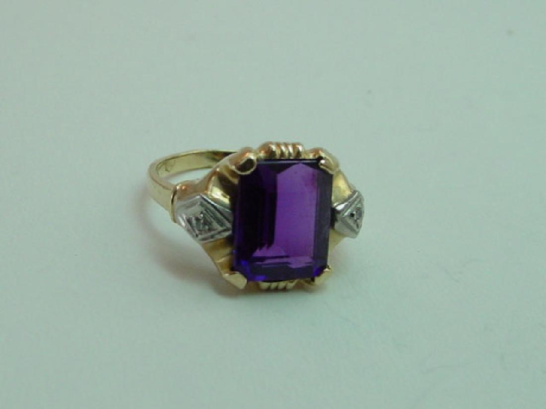 Vintage 14K Gold Amethyst & Diamond Ring - 3