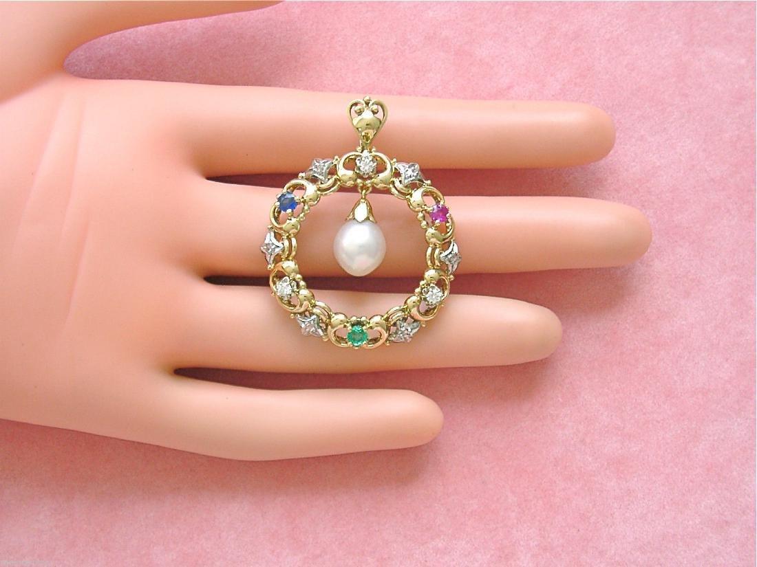 14K Gold Diamond Ruby Sapphire Emerald Pearl Pendant - 10