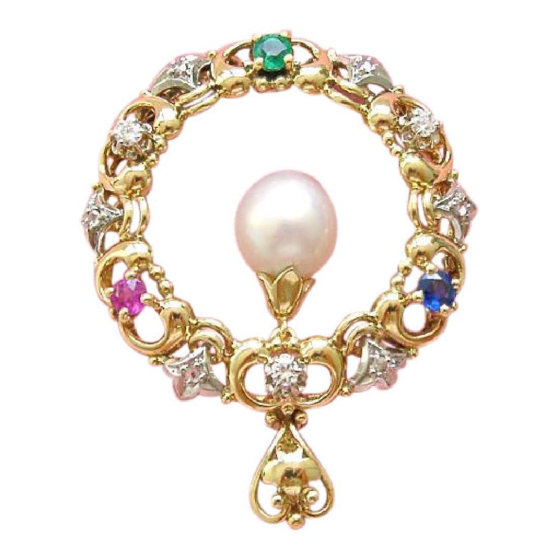 14K Gold Diamond Ruby Sapphire Emerald Pearl Pendant
