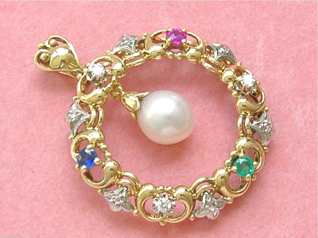14K Gold Diamond Ruby Sapphire Emerald Pearl Pendant - 2