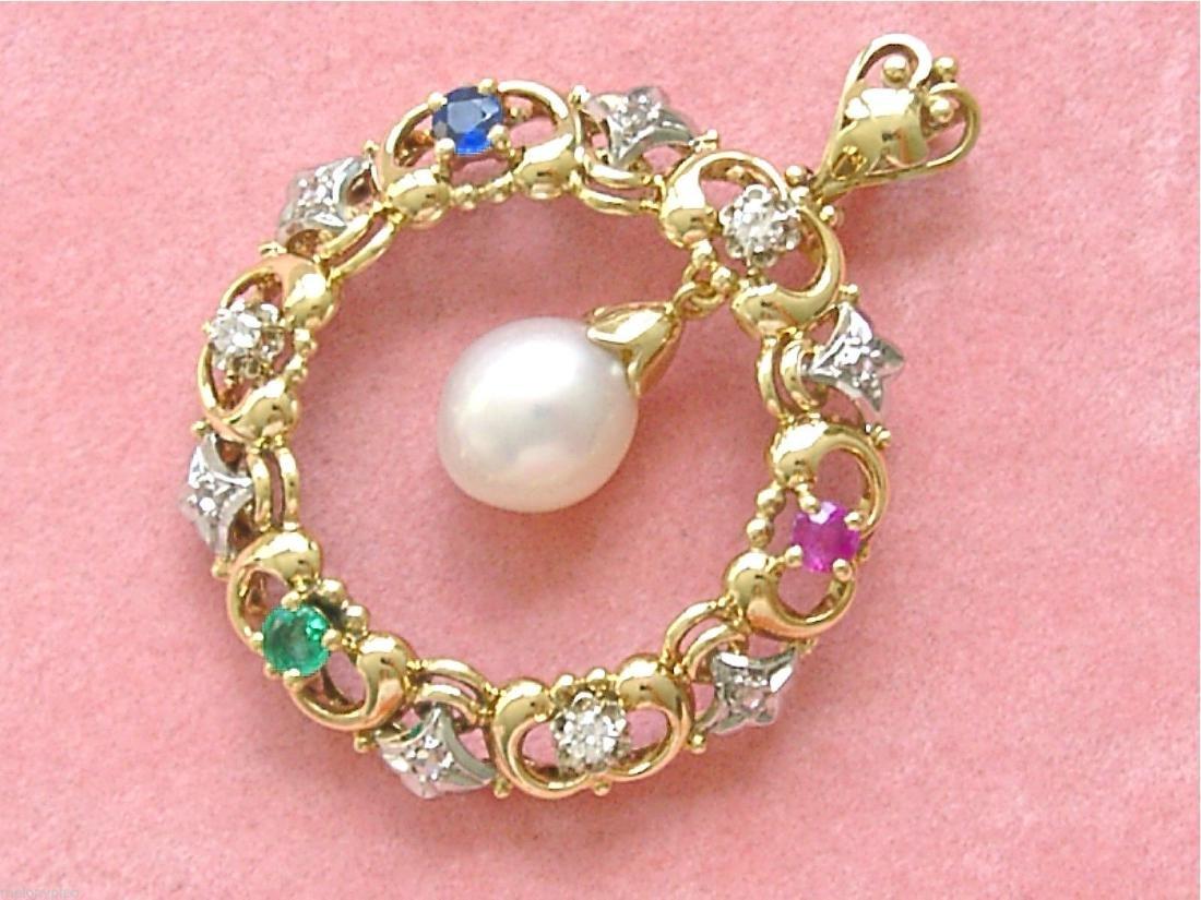 14K Gold Diamond Ruby Sapphire Emerald Pearl Pendant - 3