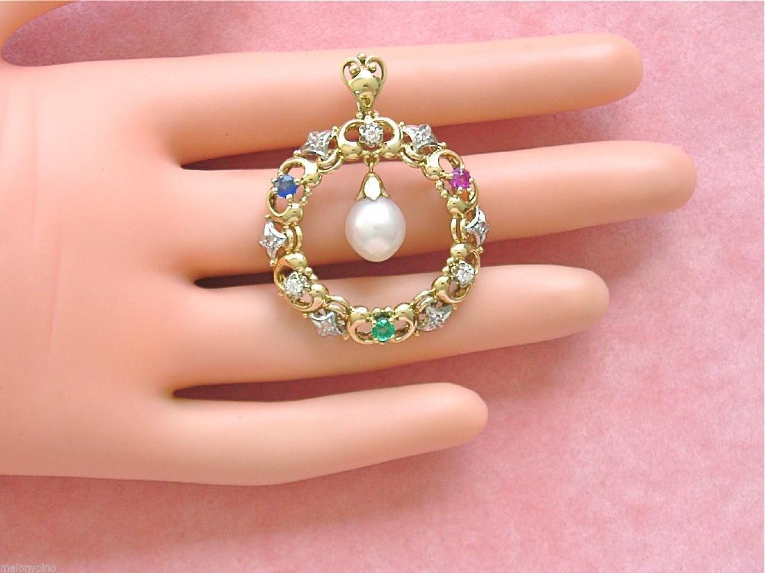 14K Gold Diamond Ruby Sapphire Emerald Pearl Pendant - 4