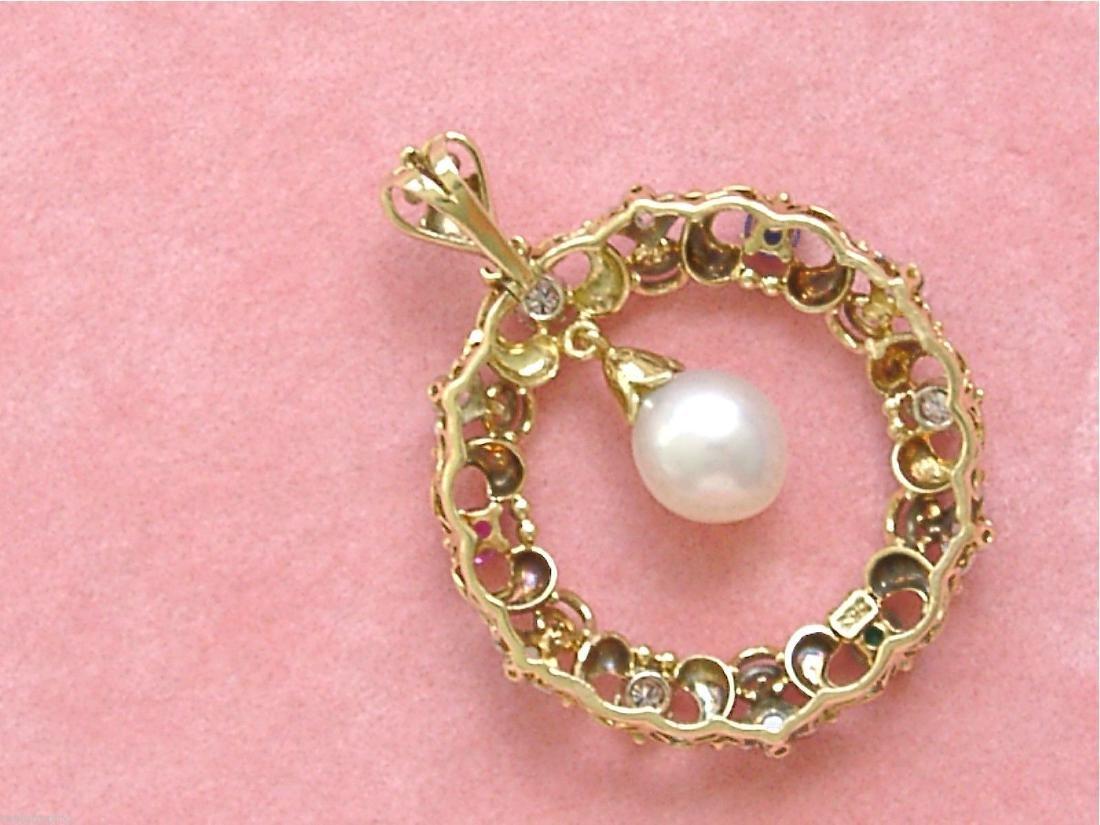 14K Gold Diamond Ruby Sapphire Emerald Pearl Pendant - 5