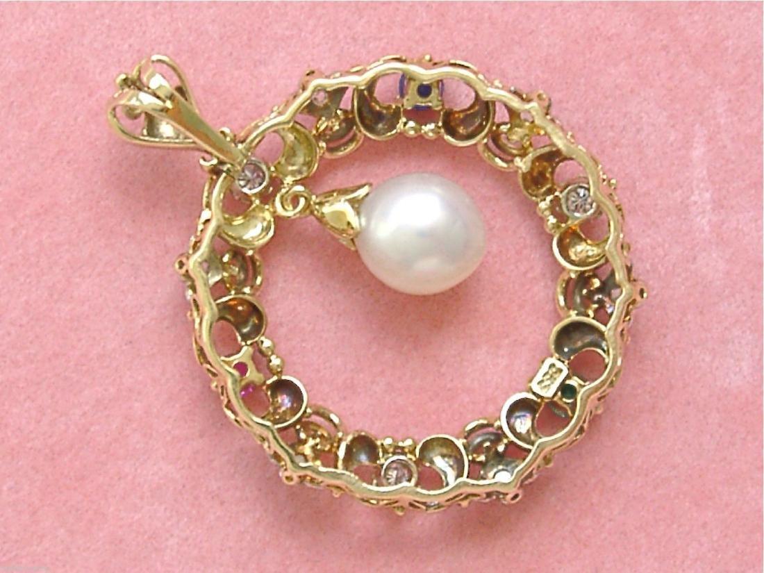 14K Gold Diamond Ruby Sapphire Emerald Pearl Pendant - 6