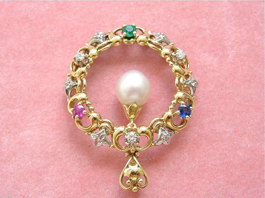 14K Gold Diamond Ruby Sapphire Emerald Pearl Pendant - 7
