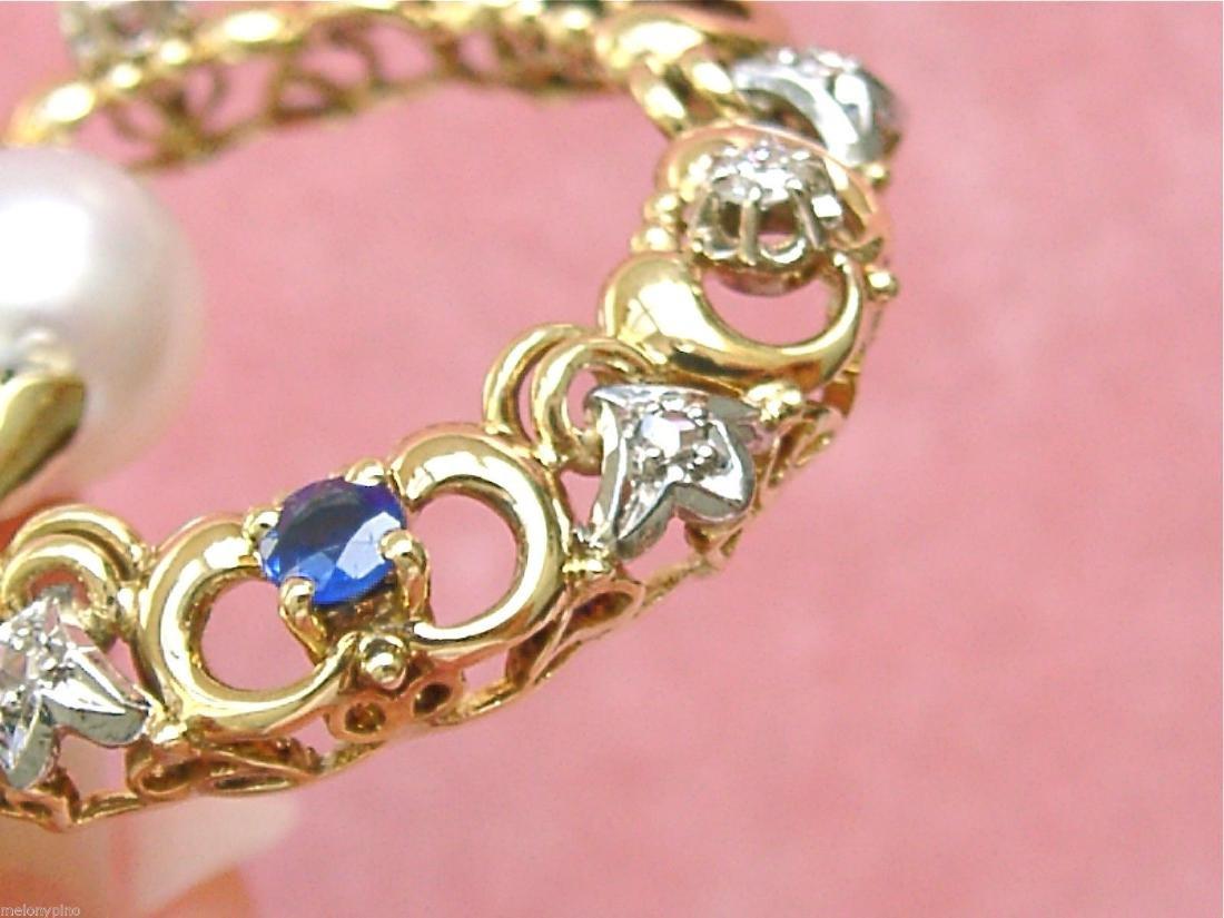 14K Gold Diamond Ruby Sapphire Emerald Pearl Pendant - 8