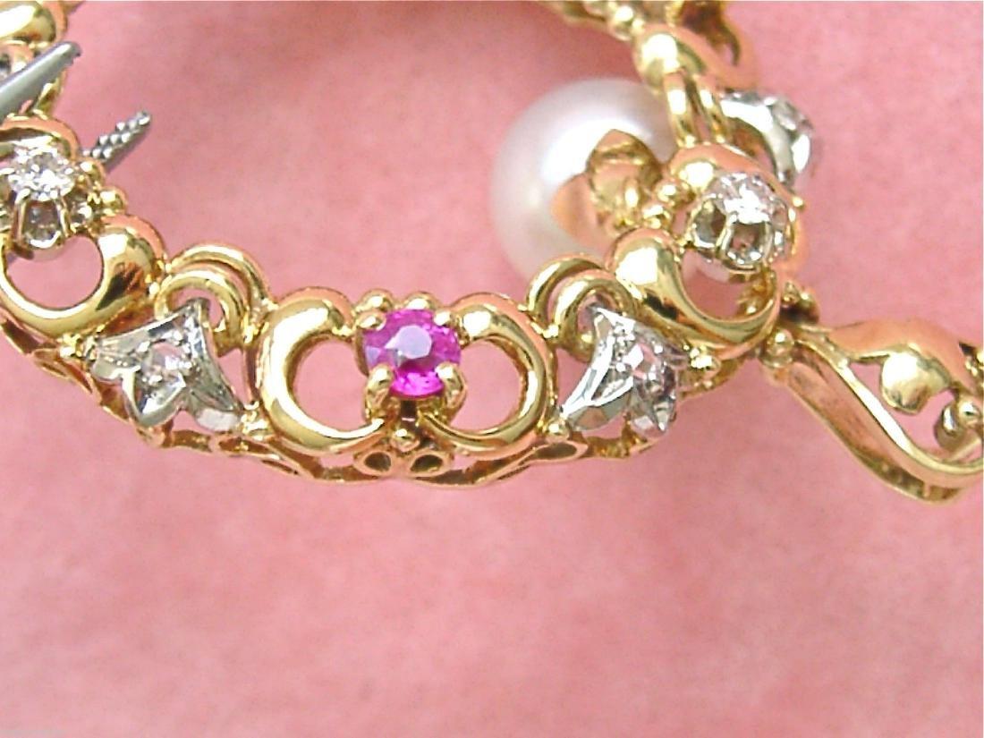 14K Gold Diamond Ruby Sapphire Emerald Pearl Pendant - 9