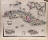 J. H. Colton: Cuba, Jamaica, & Porto Rico Map, 1857