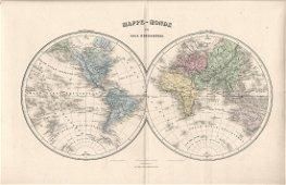 1875 Migeon Map Mappe-Monde en Deux Hemispheres