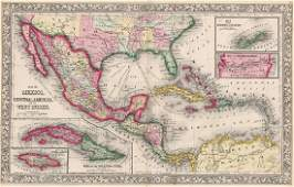 1860 Mitchell Mexico, Central America & West Indies Map