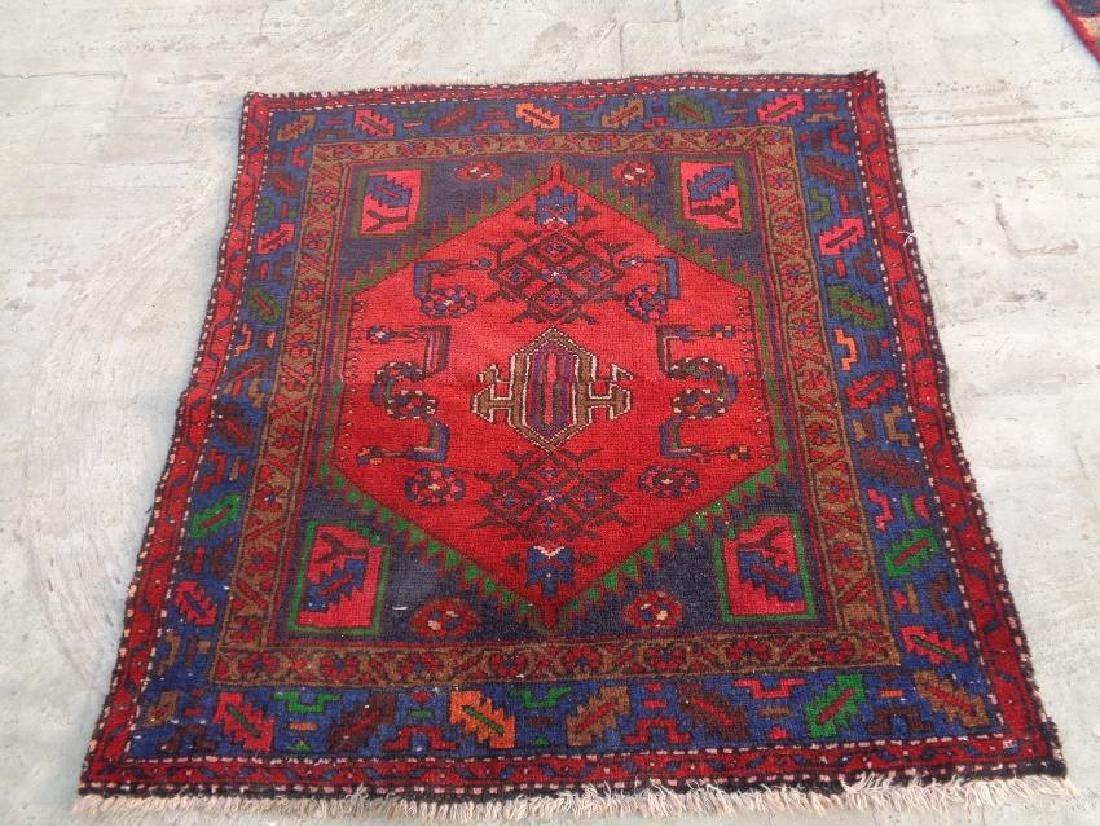 Semi Antique Wool Persian Hamadan Rug 3.9x3.6