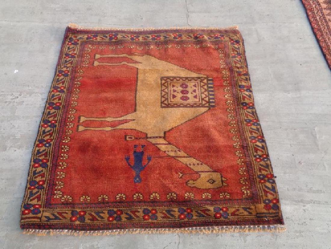 Semi Antique Wool Persian Pictorial Rug 3x2.9