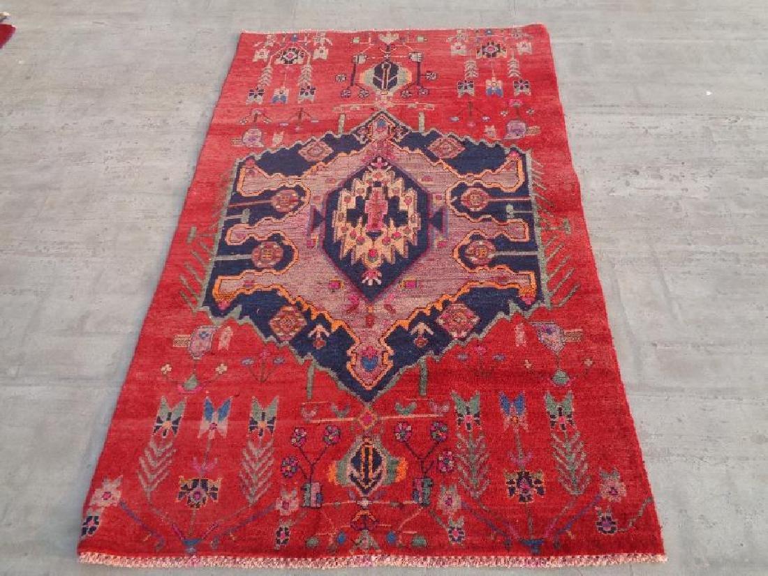 Semi Antique Wool Persian Hamadan Rug 5.6x3.4