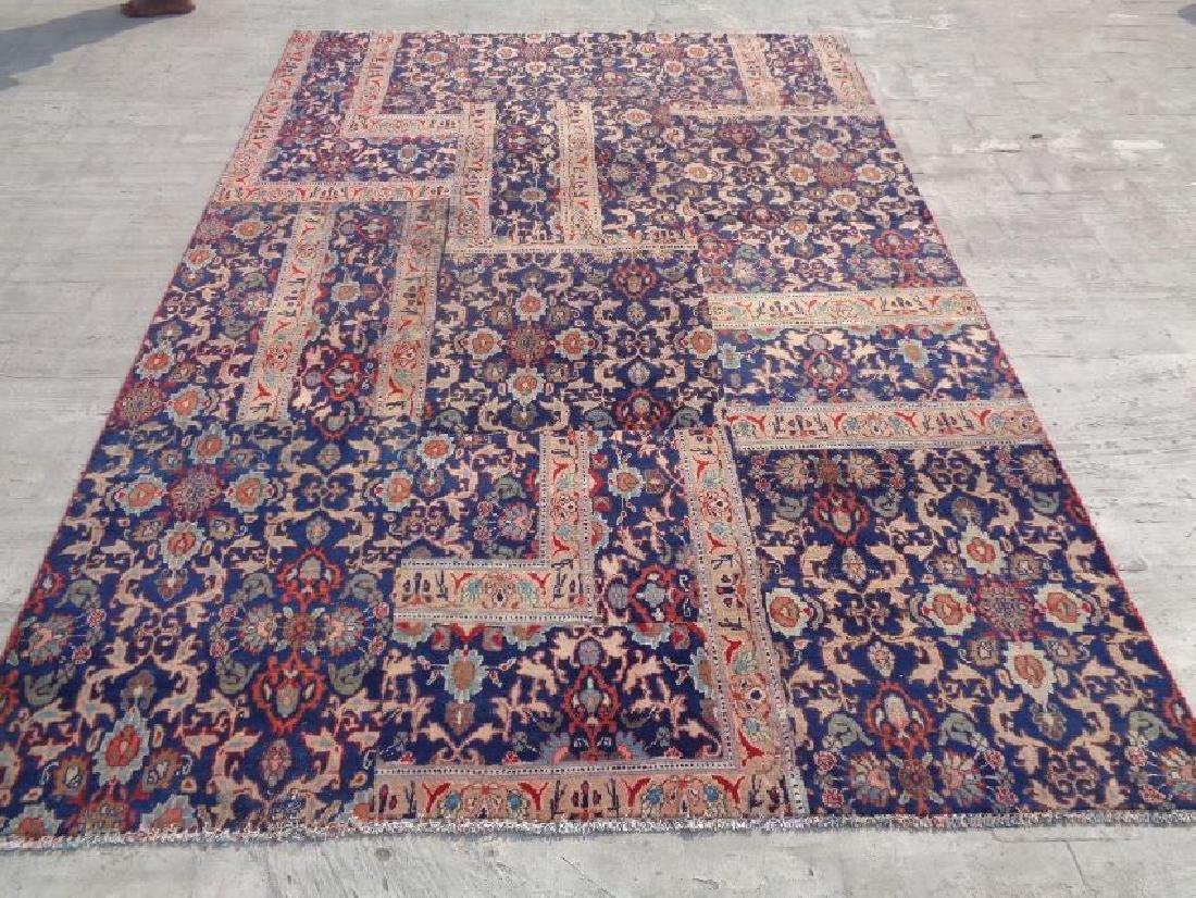 Semi Antique Persian Patchwork Rug Wool 9x6