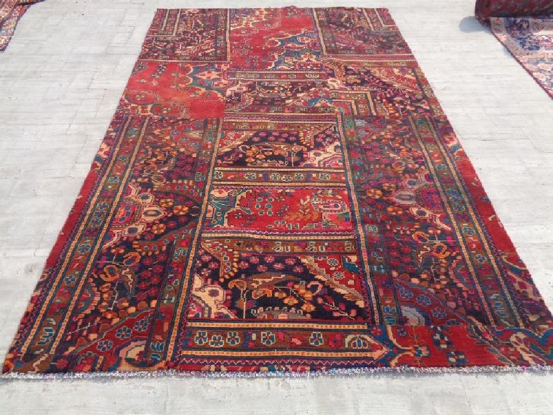 Semi Antique Persian Patchwork Wool Rug 9.6x6