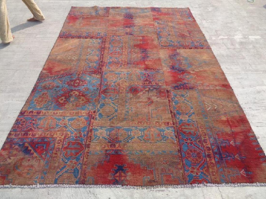 Semi Antique Persian Patchwork Wool Rug 9.2x6.1