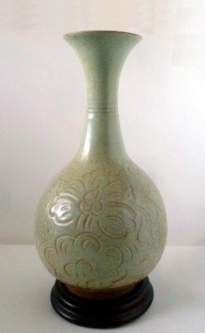 Vietnamese Mid Century Monochrome Green Vase
