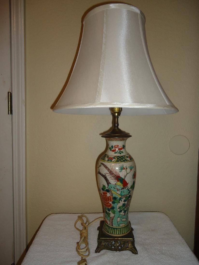 Antique Porcelain Asian Bird & Rose Floral Setting Lamp