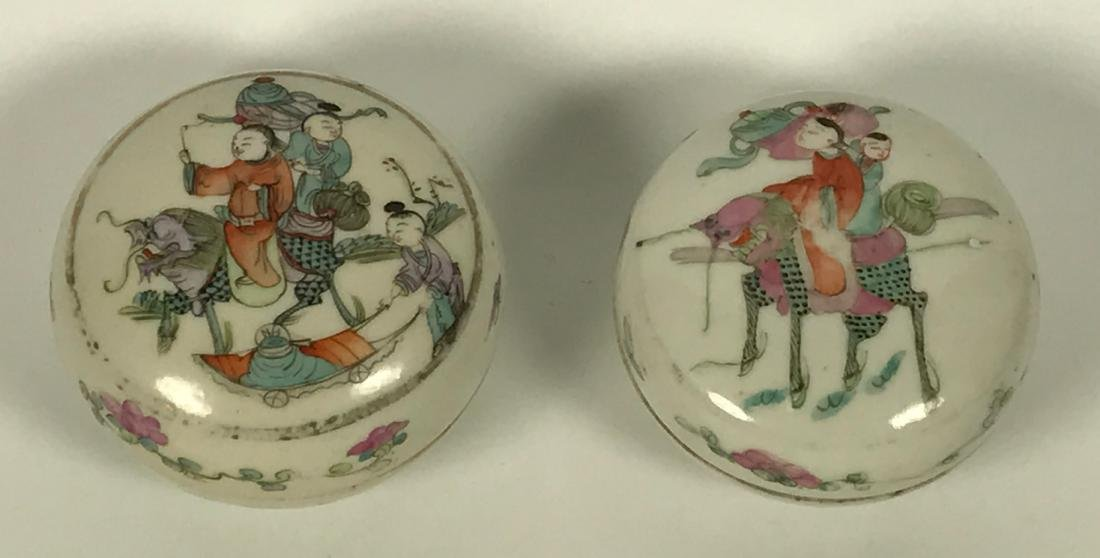 Pair of Chinese Qing Porcelain Famille Rose Boxes