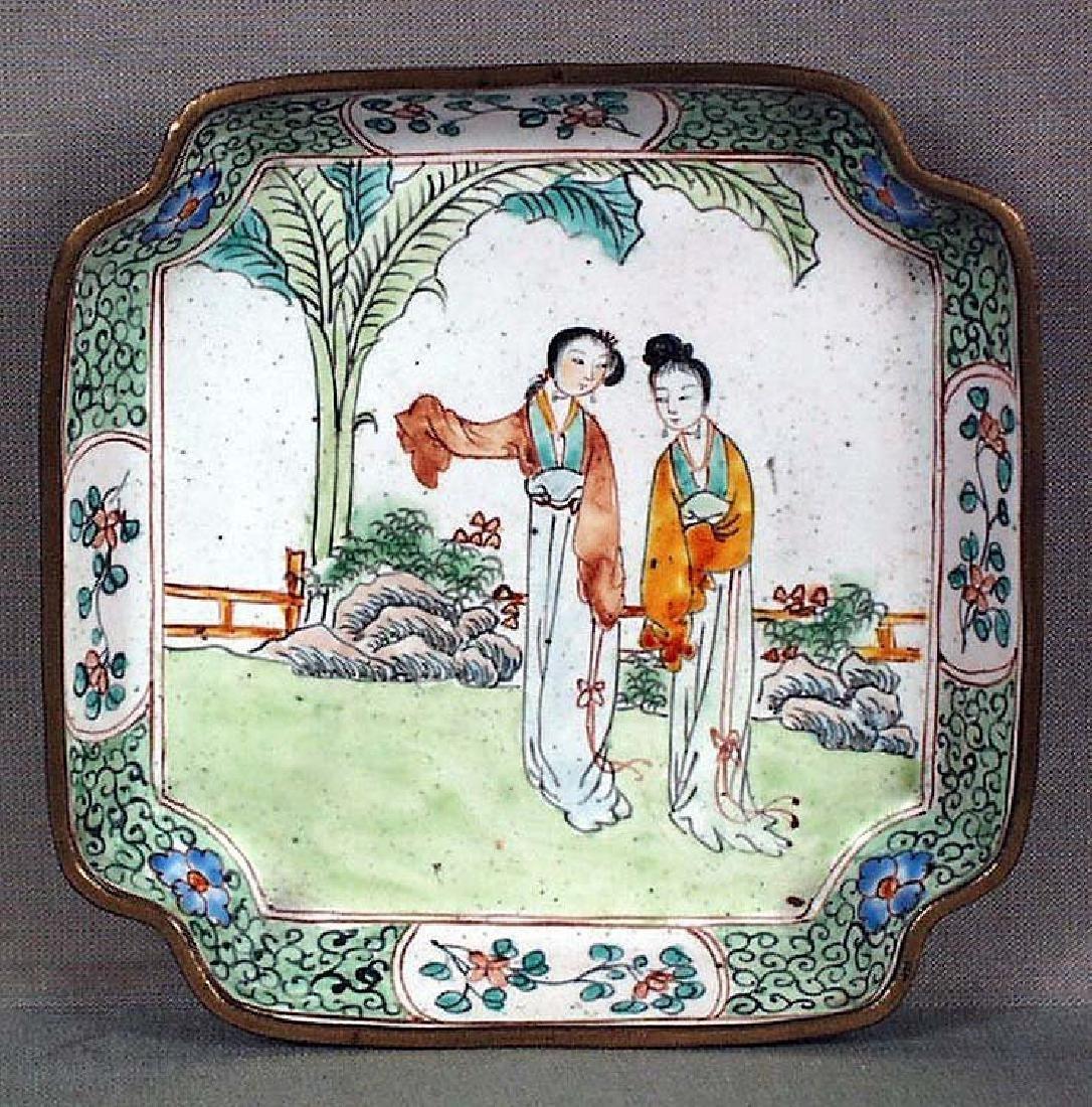 Chinese Canton Enamel Dish Ladies in Garden, 19th C