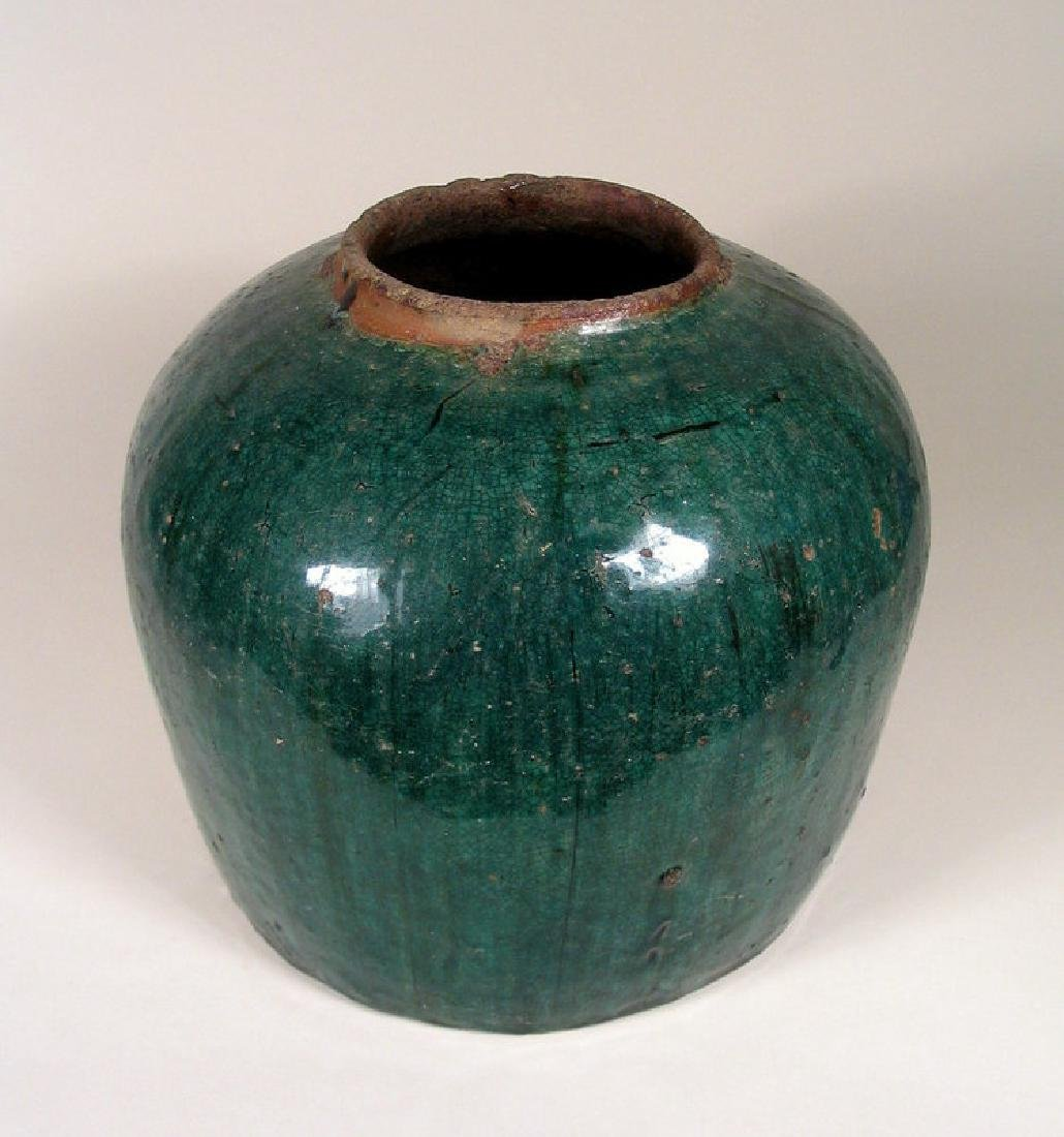 Antique Chinese Qing Teal Glazed Pottery Jar