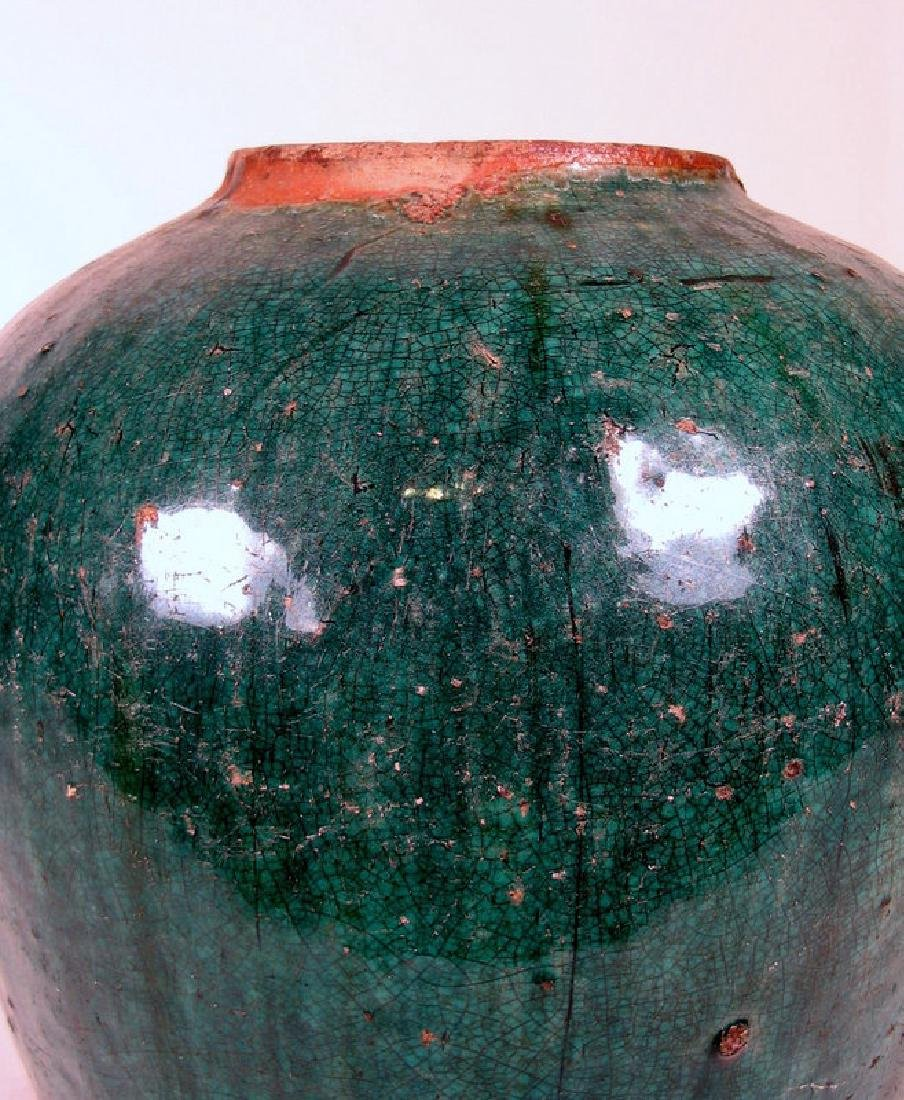 Antique Chinese Qing Teal Glazed Pottery Jar - 3
