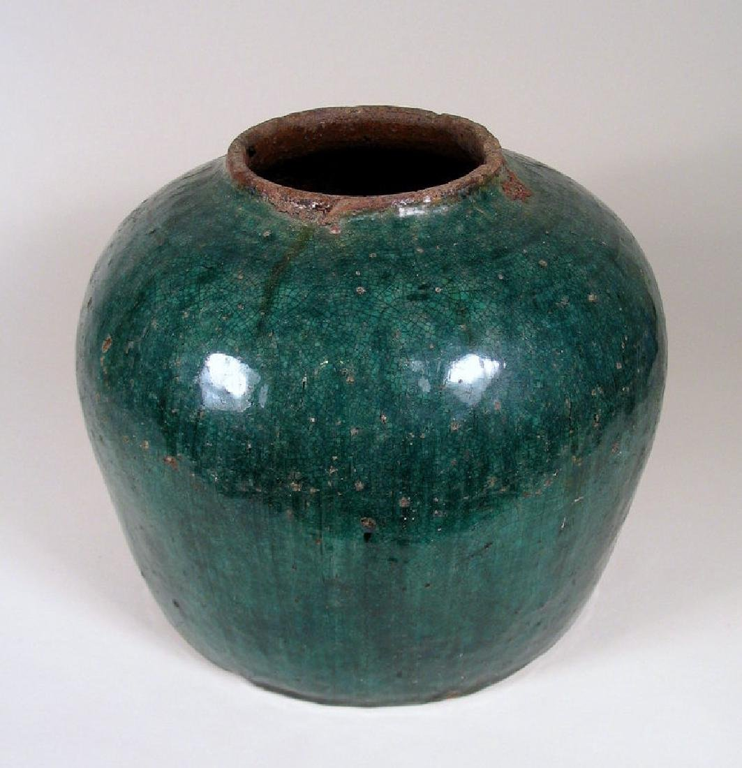 Antique Chinese Qing Teal Glazed Pottery Jar - 4