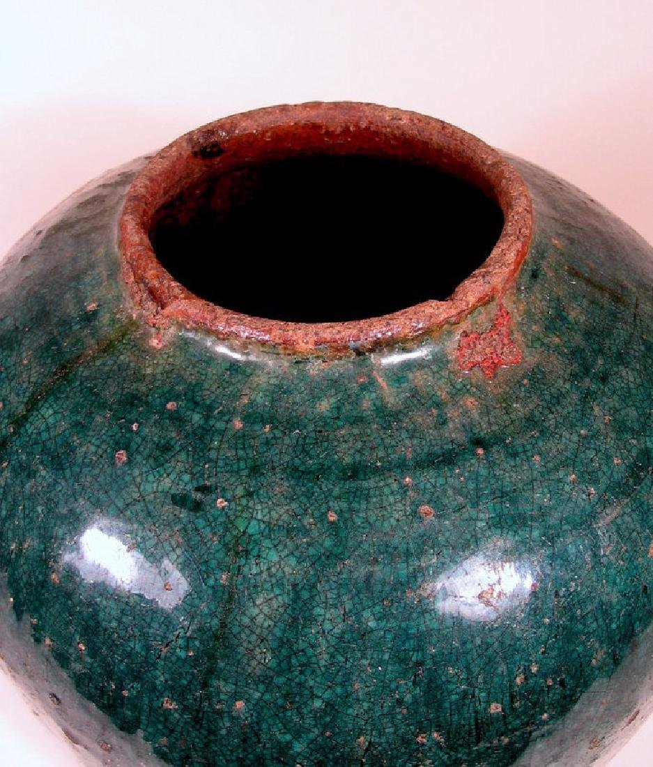 Antique Chinese Qing Teal Glazed Pottery Jar - 5