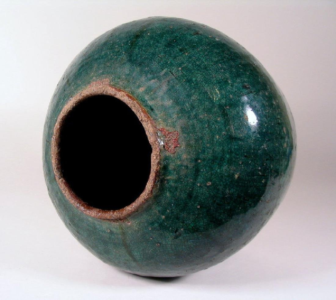 Antique Chinese Qing Teal Glazed Pottery Jar - 7