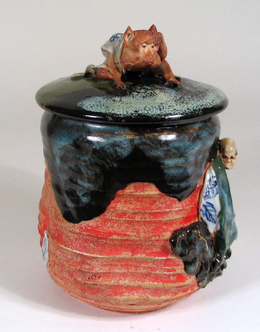Japanese Sumida Gawa Humidor / Lidded Jar - 9