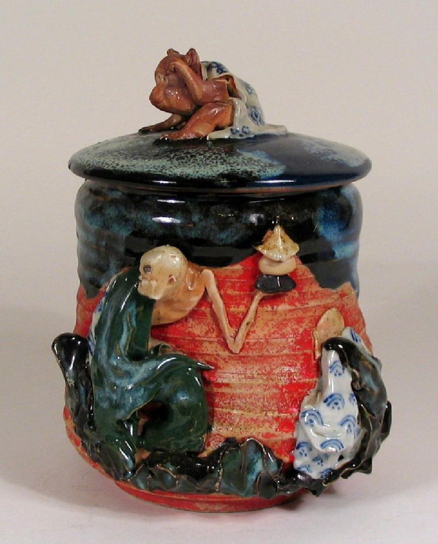 Japanese Sumida Gawa Humidor / Lidded Jar