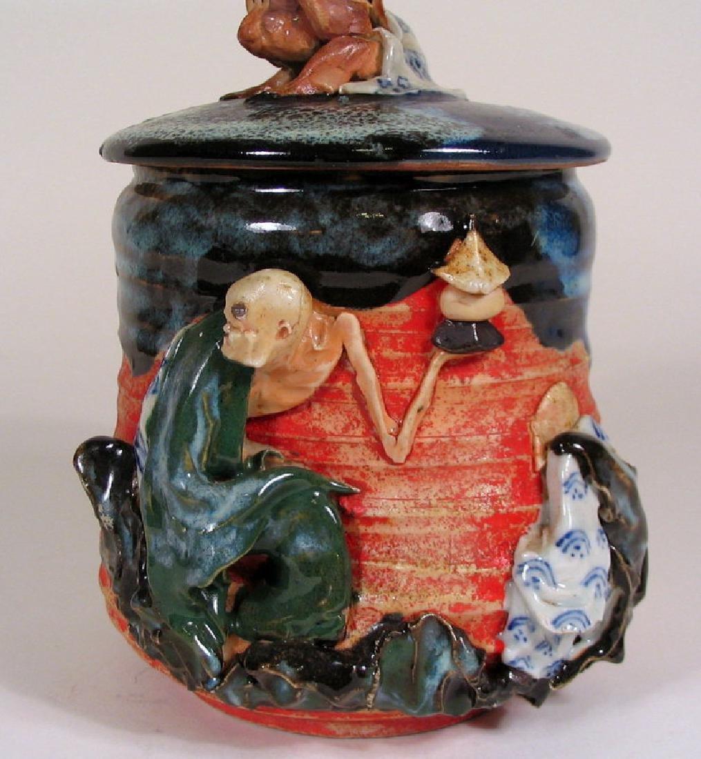 Japanese Sumida Gawa Humidor / Lidded Jar - 3
