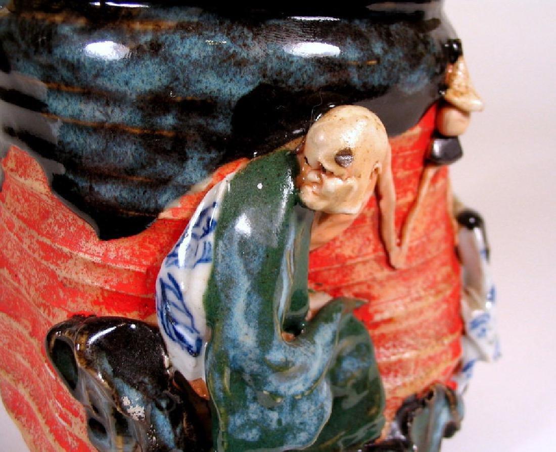Japanese Sumida Gawa Humidor / Lidded Jar - 4