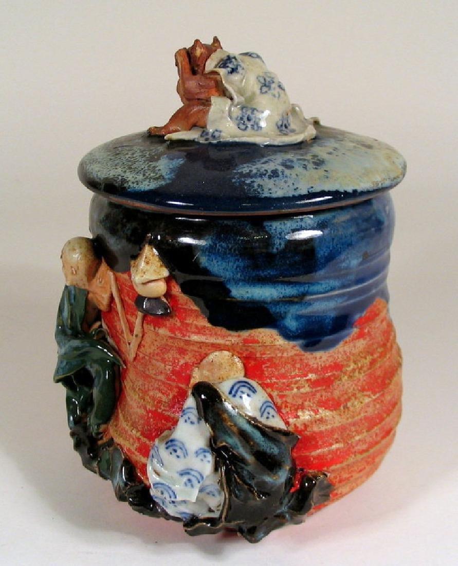 Japanese Sumida Gawa Humidor / Lidded Jar - 6