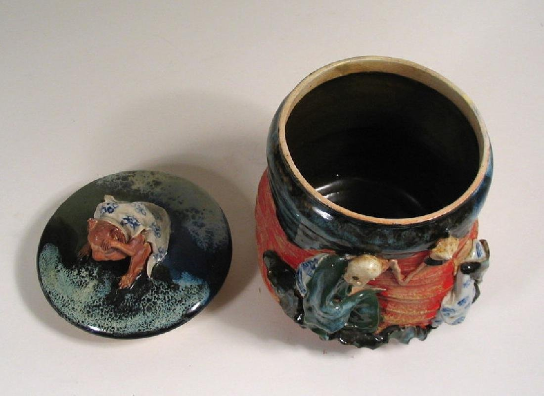 Japanese Sumida Gawa Humidor / Lidded Jar - 8