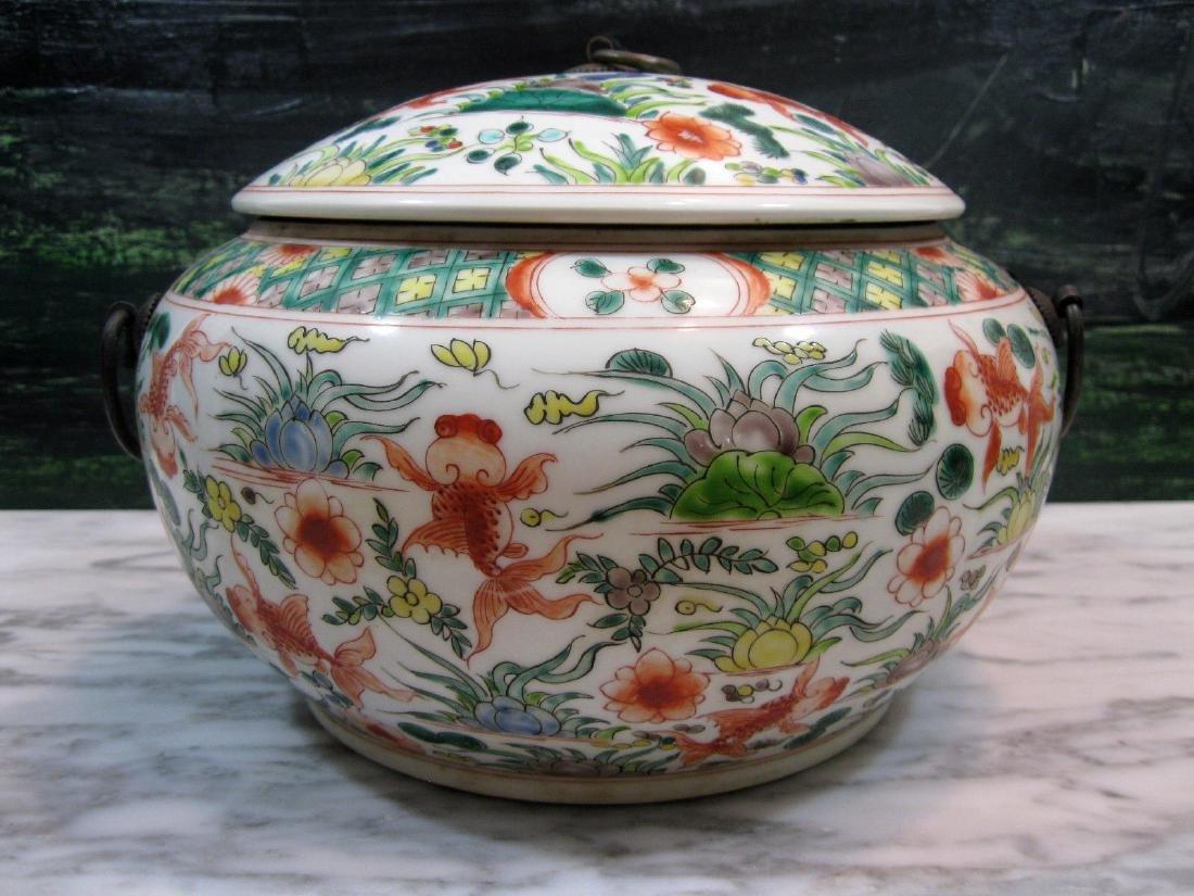 Chinese Kangxi Porcelain Enamel & Blue Seal Covered Jar