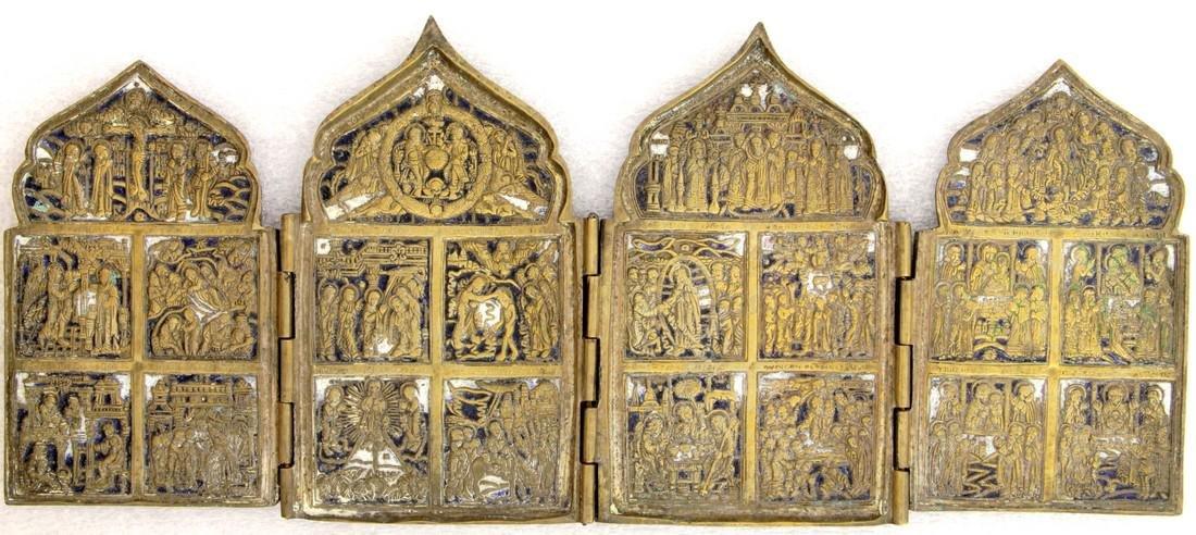 Feasts Russian Metal Enamel Tetraptych, 18-19th C