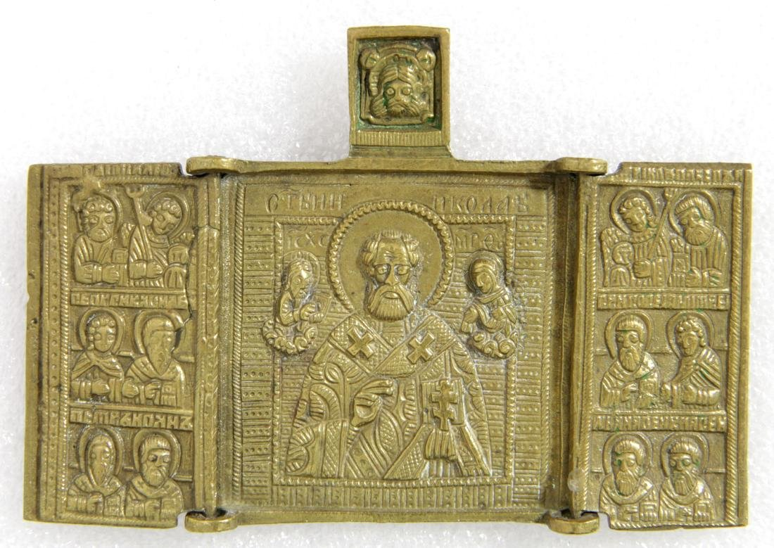 Saint Nicholas Triptych Russian Metal Icon, 1800