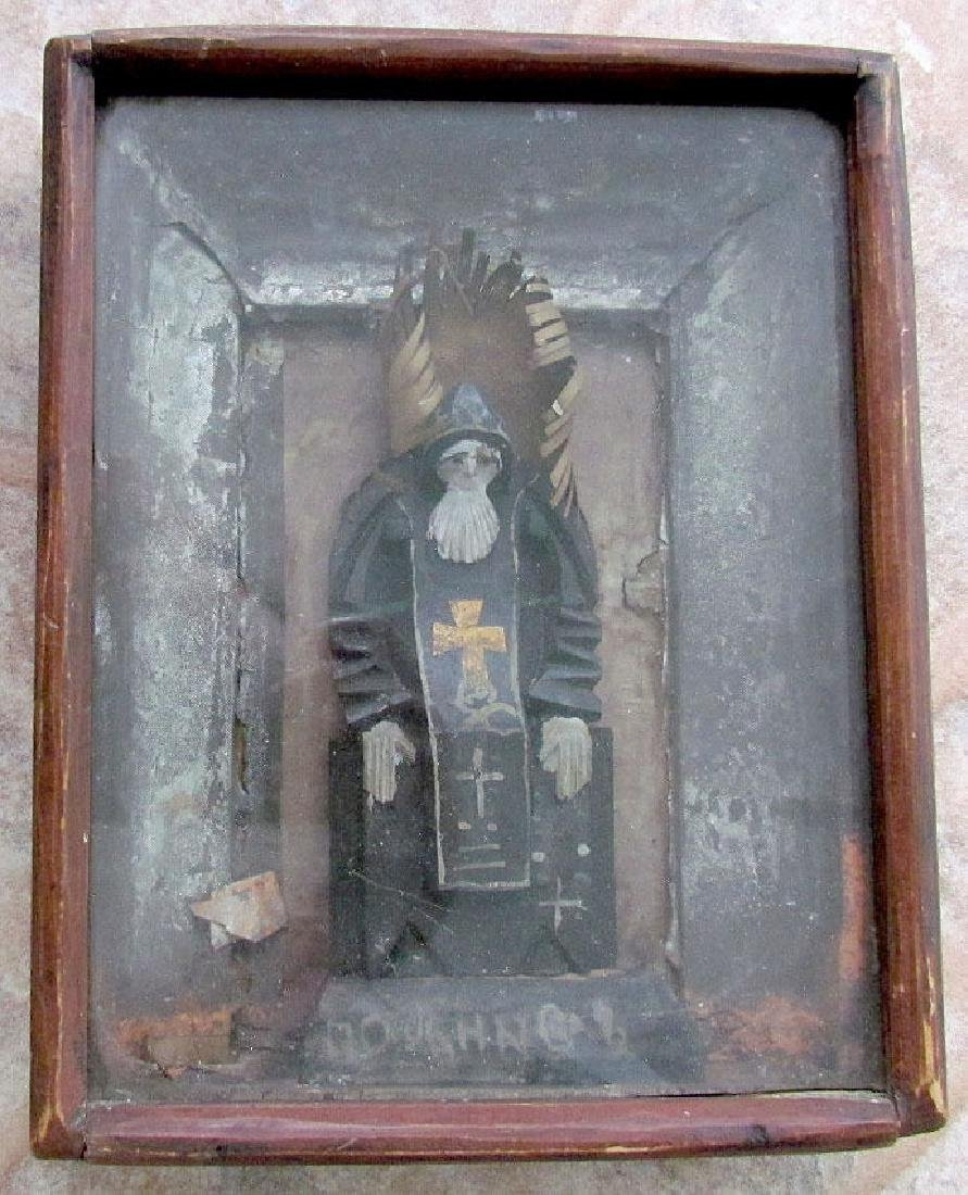 Antique Russian St Nil Wood Statue Icon in Kiot, 19th C