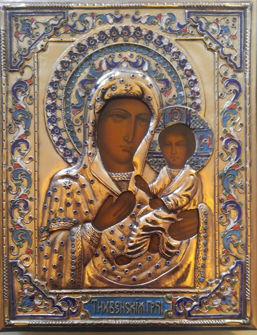 Tihvinskaya Mother of God Russian Enamel Oklad Icon
