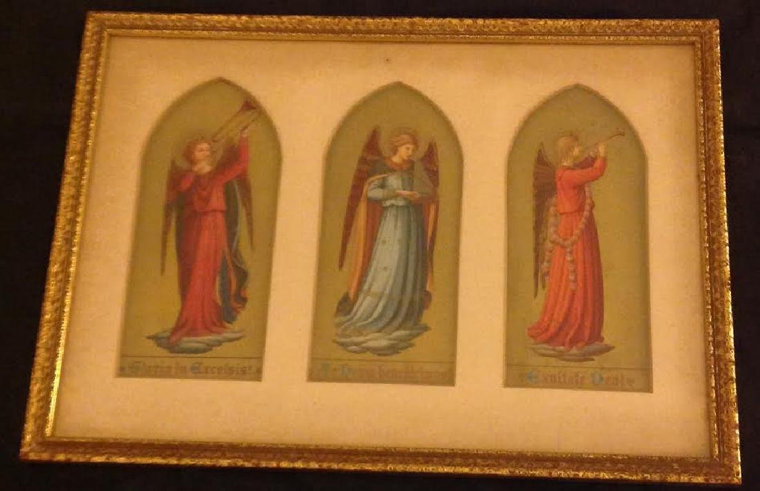 Framed Religious Angel Icon Images, Three Scenes