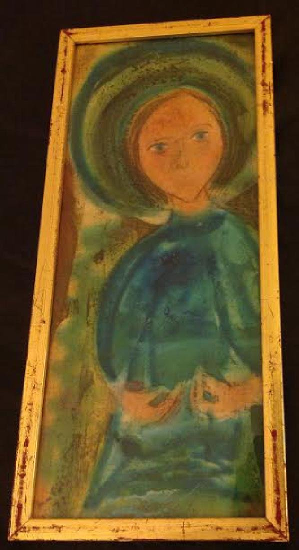 Framed Russian Madonna Religious Icon on Fabric