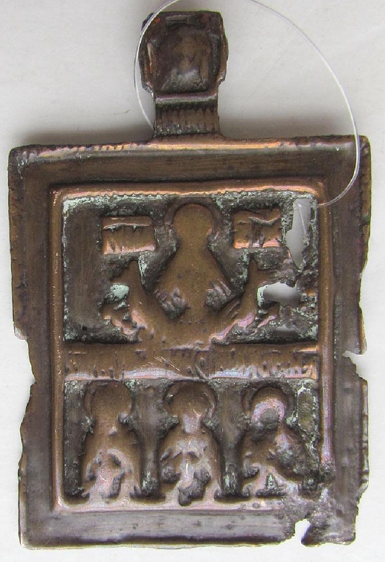 Antique Bronze Russian Hanging Icon of Saints, 1700s