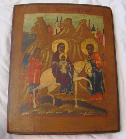 Flight to Egypt Russian Icon, 19th C